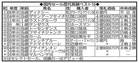 里見氏が購入したディープ産駒2頭は歴代10位タイにランクイン