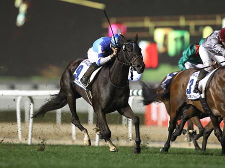 J.モレイラ騎手のヴィブロスが直線鋭く伸びて前にいる馬を差し切りGI2勝目、海外GI初制覇(撮影:高橋 正和)