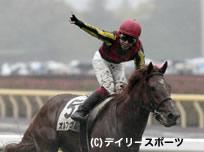 オルフェーヴルで2冠目となるダービーを制し天を指さす池添謙一騎手=東京競馬場