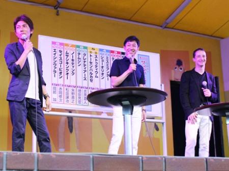 JRAジョッキートークショーに参加した和田竜二騎手、武豊騎手、C.ルメール騎手