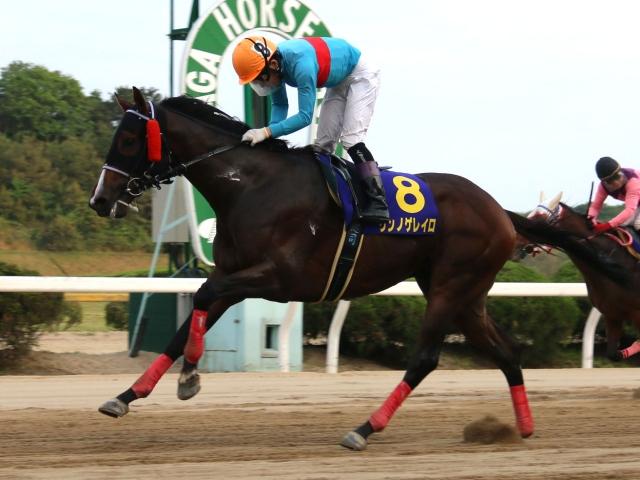 岡村健司騎手騎乗の1番人気リンノゲレイロが快勝(写真提供:佐賀県競馬組合)