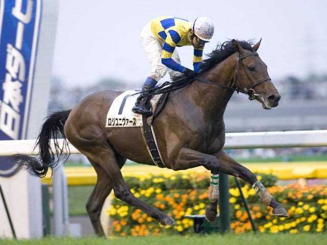 ロジユニヴァースが勝利した2009年の日本ダービー(撮影:下野雄規)