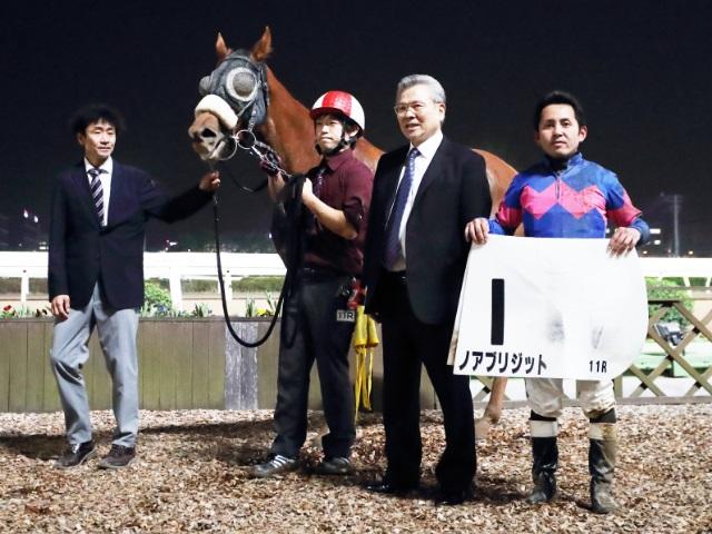 ノアブリジットで勝利し、地方競馬通算2000勝を達成した坂井英光騎手(撮影:高橋正和)