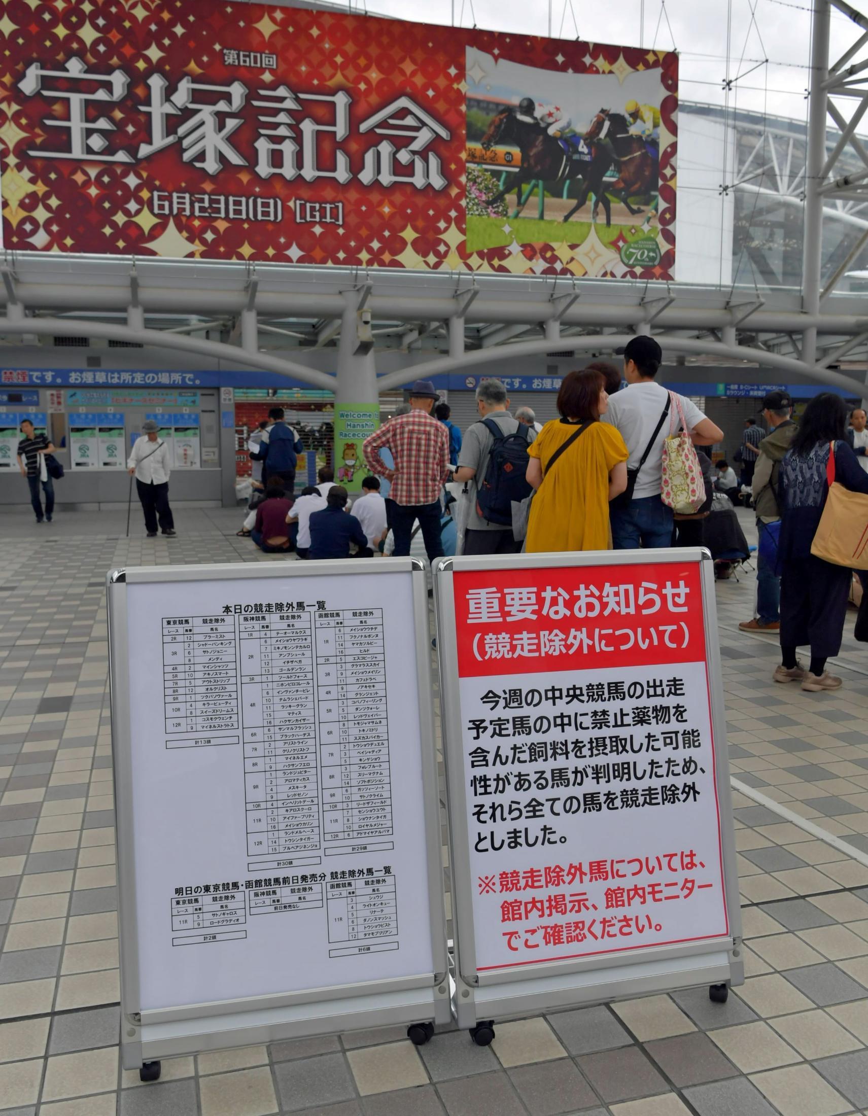 大量の競走除外馬が出たことを知らせる看板=15日、阪神競馬場