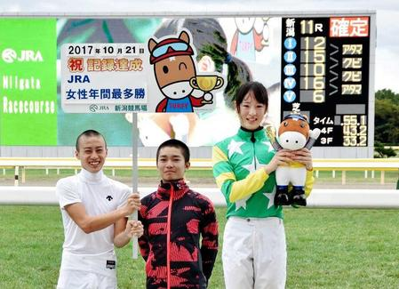 セレモニーで笑顔を見せる菜七子(右)(C)JRA