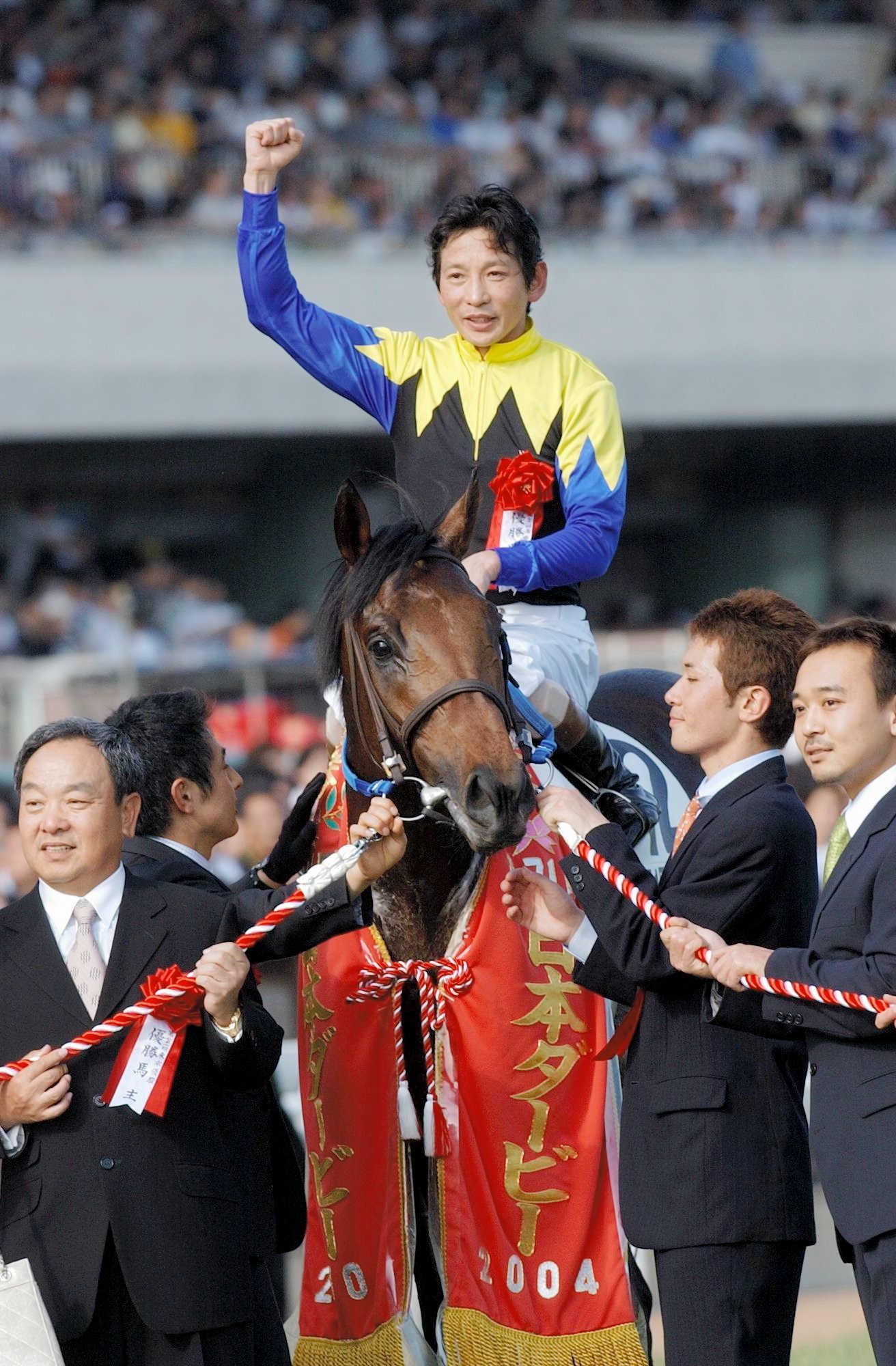 04年5月30日 日本ダービーを制したキングカメハメハと安藤勝己騎手