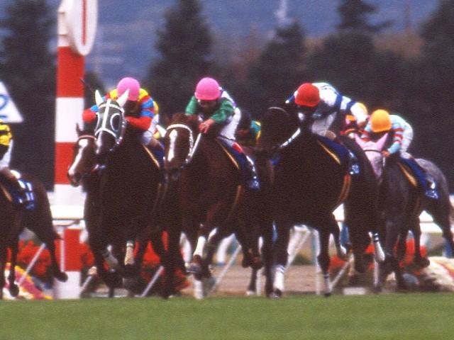 28歳で亡くなったチョウカイキャロル(写真は1994年のエリザベス女王杯2着時、写真中央のピンク帽)
