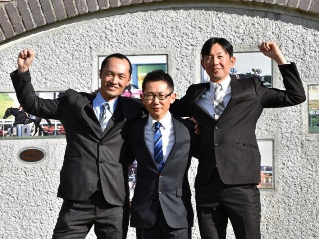 美浦からの合格者3名(写真左から鈴木慎太郎、伊坂重信、辻哲英、撮影:佐々木祥恵)