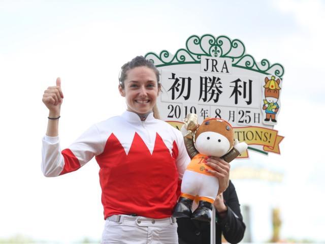 8月25日、JRA初勝利を挙げたミカエル・ミシェル騎手(撮影:高橋正和)