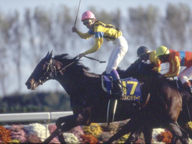 武豊騎手を背に1996年の菊花賞を優勝したダンスインザダーク(c)netkeiba.com、撮影:下野雄規