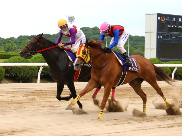 昨年覇者のハッピーハッピー(写真奥、提供:佐賀県競馬組合)