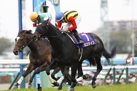 M.デムーロ騎手騎乗のロゴタイプが2歳王者の貫禄を見せつけ1分58秒0のコースレコードで快勝。(撮影:下野雄規)