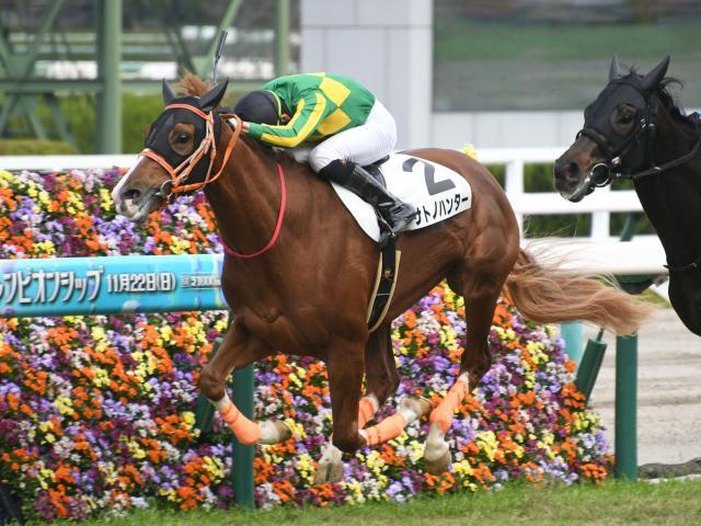 松山弘平騎手騎乗の3番人気サトノハンターが勝利