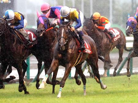 内田博幸騎手騎乗のデニムアンドルビーが道中は最後方からレースを進め、直線に入ると末脚を伸ばし、前を行く各馬を一気に抜き去って優勝した