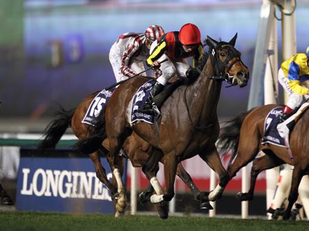ドバイ・メイダン競馬場で行われたドバイシーマクラシックはR.ムーア騎手騎乗のジェンティルドンナが昨年2着のリベンジを果たしGI・6勝目を挙げた(撮影:高橋正和)