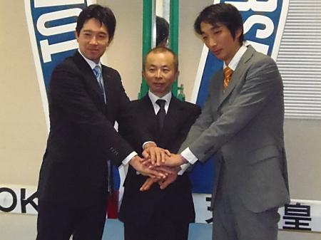 調教師試験に合格した(左から)池上昌和さん、中舘英二さん、竹内正洋さん(撮影:佐々木祥恵)