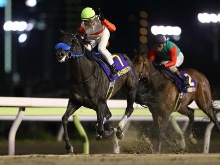 丸田恭介騎手騎乗のダノンレジェンドが、直線で逃げ粘るシゲルカガを捕らえ優勝。重賞3連勝を飾った(撮影:高橋 正和)