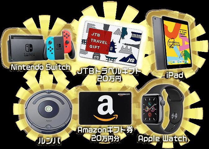 賞品 NintendoSwitch,JTBトラベルギフト,iPad,ルンバ,Amazonギフト券20万円分,AppleWatch