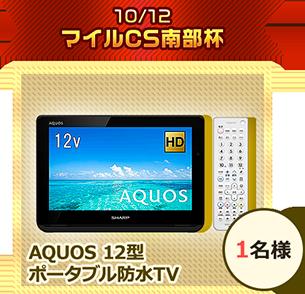 10/12 マイルCS南部杯 AQUOS 12型 ポータブル防水TV 1名様