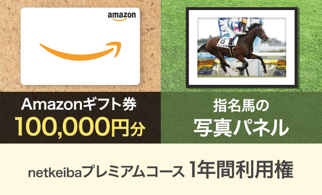 Amazonギフト券 10万円分 指名馬の写真パネル+netkeibaプレミアムコース1年間利用権