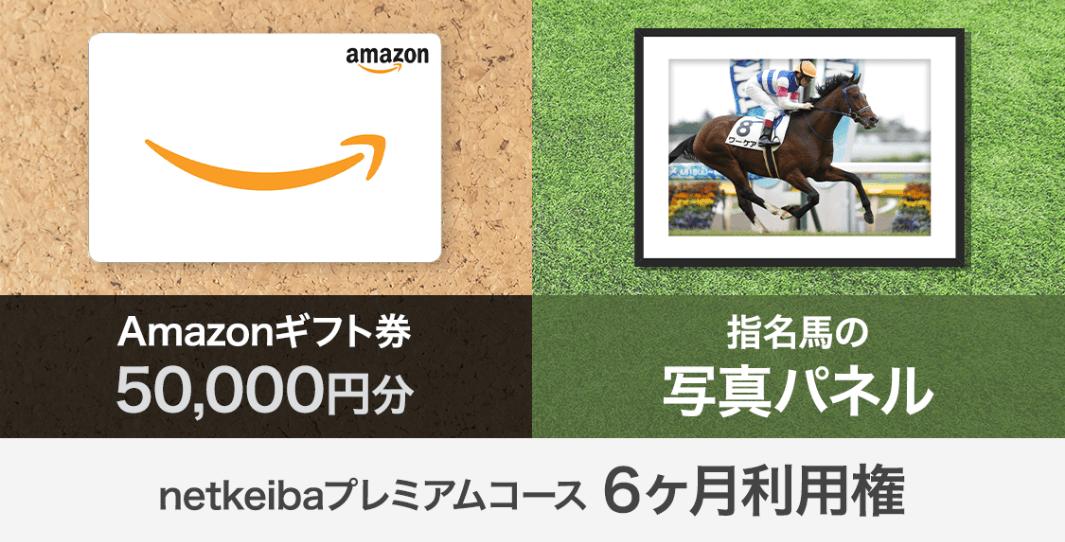 Amazonギフト券 5万円分 指名馬の写真パネル+netkeibaプレミアムコース6ヶ月利用権
