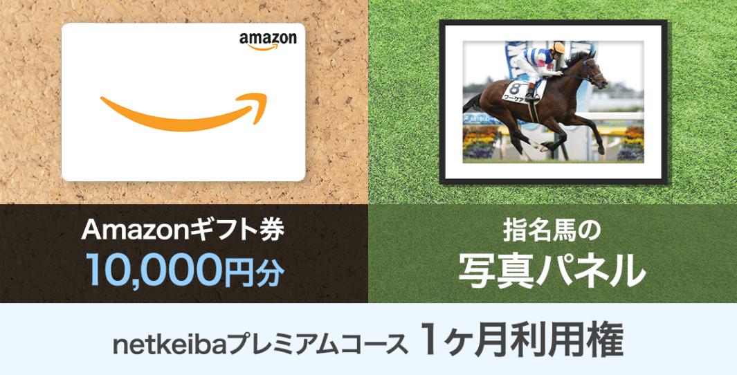 Amazonギフト券 1万円分 指名馬の写真パネル+netkeibaプレミアムコース1ヶ月利用権