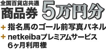全国百貨店共通 商品券 5万円分+指名馬のゴール前写真パネル+プレミアムサービス6か月利用権