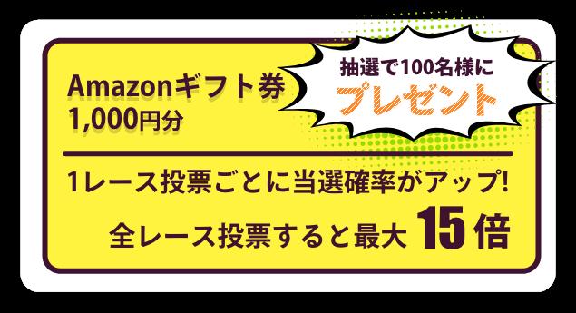 全レース投票すると当選チャンスが最大15倍Amazonギフト券1,000円分抽選で100名様にプレゼント