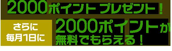 2000ptプレゼント!さらに毎月1日に2000ポイントが無料でもらえる!