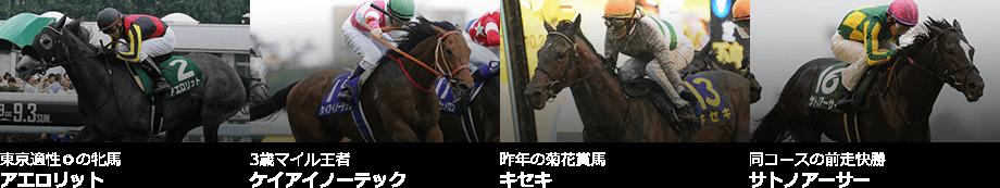 東京適性◎の牝馬:アエロリット,3歳マイル王者:ケイアイノーテック,昨年の菊花賞馬:キセキ,同コースの前走快勝:サトノアーサー